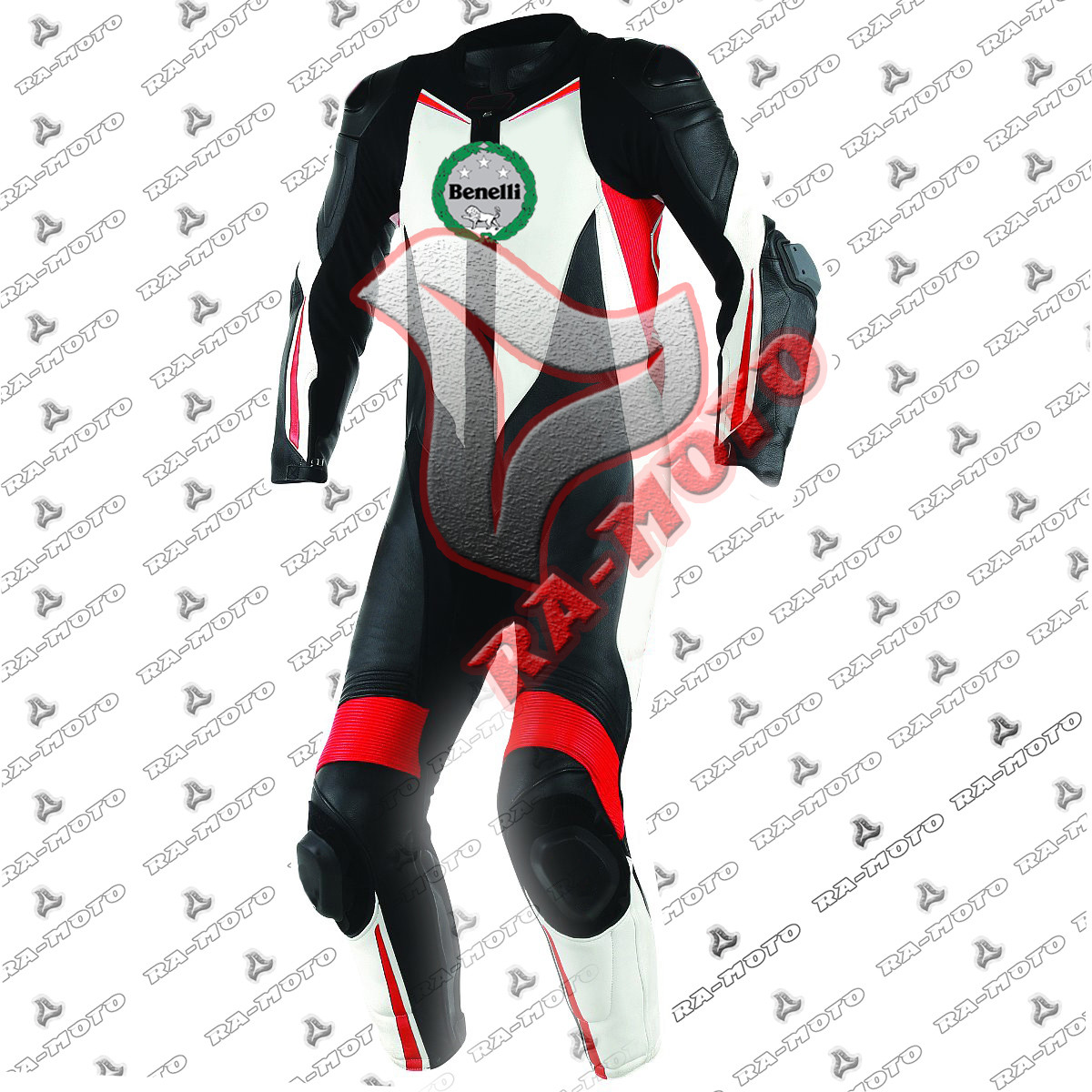 RA-15263Benelli black-white-fluo red Motorbike leather suit