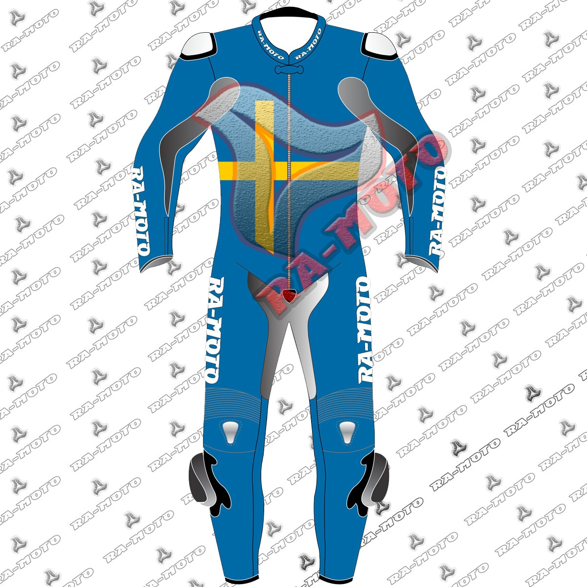 RA-15249 sweden flag moterbike leather suit 2019