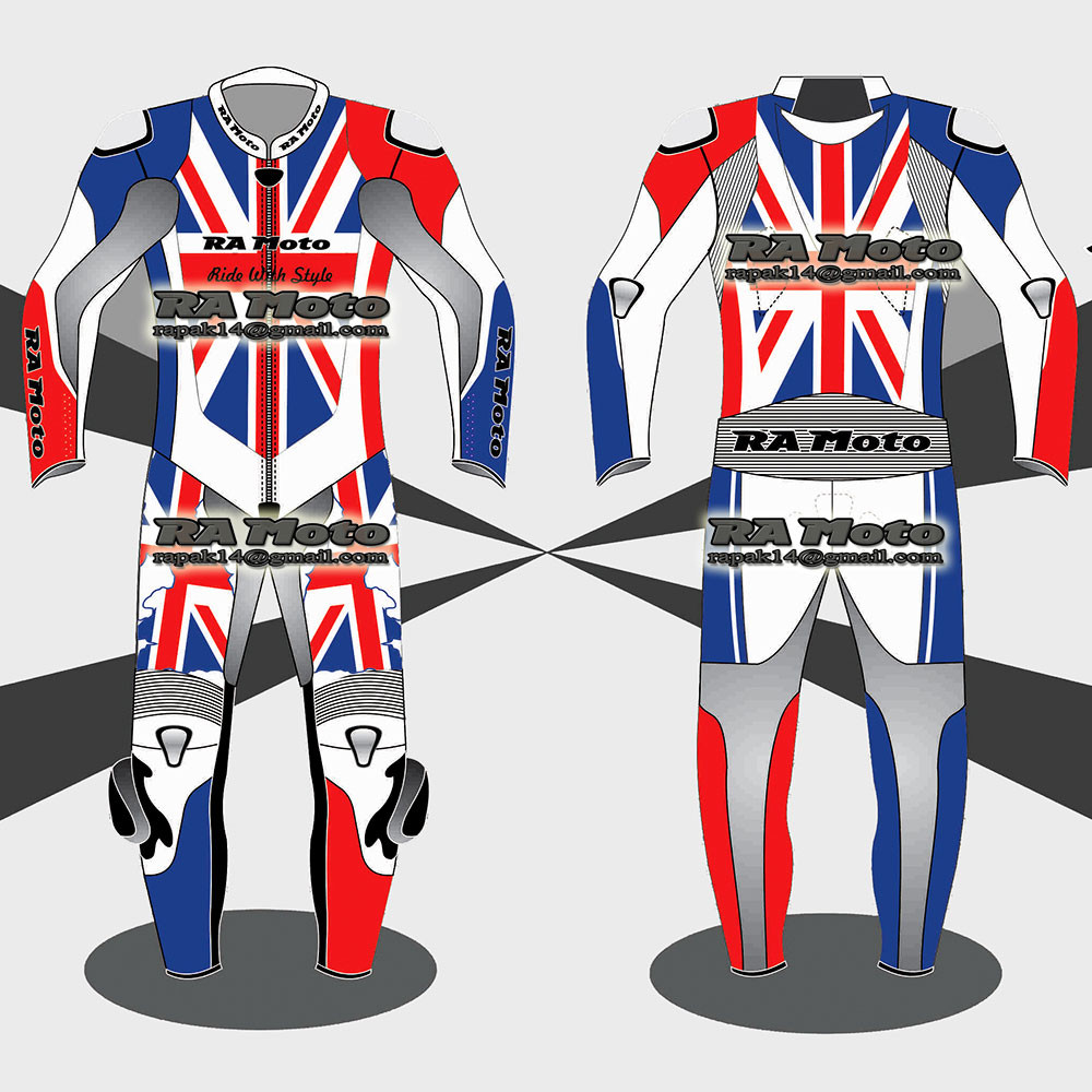 RA-803 UK Flag Motorcycle leather suit